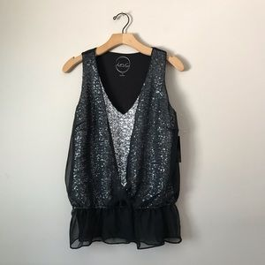 INC silver Sequence lace dress black
